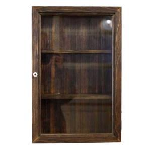 コレクションケース アンティーク調家具 木製ひのき 透明ガラス扉 壁掛け 棚付き ディスプレイケース ガラスケース 29×10×44cm ダークブラウン 受注製作|angelsdust