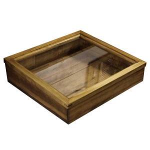 アクセサリーケース アンティーク調家具 ガラスケース コレクションケース 木製ひのき 38×35×10cm 傾斜タイプ つまみなし アンティークブラウン 受注製作|angelsdust