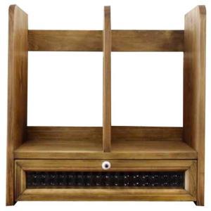 ブックスタンド 木製 ひのき フランス製チェッカーガラス引き出しつき 本棚 アンティークブラウン 受注製作|angelsdust