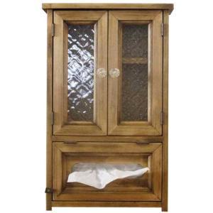 キャビネット ティッシュボックス アンティークブラウン w27d10h43cm フローラガラス扉 木製 ひのき オーダーメイド|angelsdust