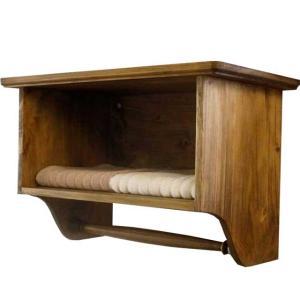 タオルストッカー タオルバー アンティークブラウン w45d25h30cm 二段 木製 ひのき オーダーメイド|angelsdust