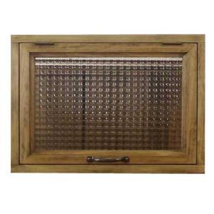 突き出し窓 木製ひのき フランス製チェッカーガラス 採光窓 フラップアップ式 両面仕様 42×15×30cm・扉の厚み3cm アンティークブラウン 受注製作|angelsdust