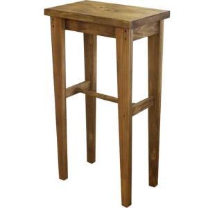 角スツール 木製ひのき ハイスツール STOOL 角型椅子 ハイチェア 50×30×90cm カントリースツール アンティークブラウン 受注製作|angelsdust