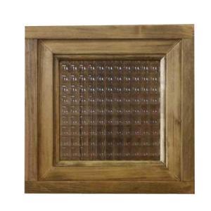 フィックス窓 木製 ひのき フランス製チェッカーガラスの窓枠つき室内窓 採光窓 24×15×24cm アンティークブラウン 受注製作 angelsdust