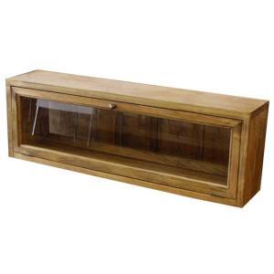 横型キャビネット 木製ひのき 両面透明ガラス扉 キッチンカウンター上収納ラック アンティークブラウン 受注製作 angelsdust