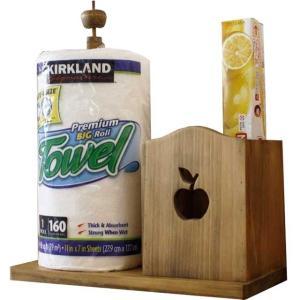 ラップスタンド アップル アンティークブラウン w35d16h36cm キッチンペーパースタンド 海外サイズ280mm ラップホルダー 木製 ひのき 受注製作|angelsdust