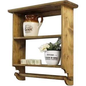 三段シェルフ タオルハンガー アンティークブラウン w45d14h46cm キッチンペーパーホルダー付き 木製 ひのき 受注製作|angelsdust