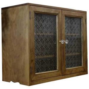 キャビネット w50d23h41cm アンティークブラウン フローラガラス扉 パンプキンノブ 棚可動式 置き型キャビネット 木製 ひのき 受注製作 angelsdust