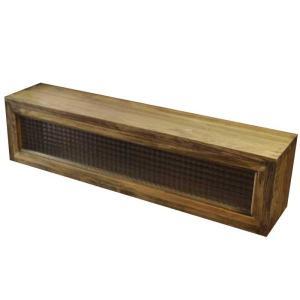 キッチンカウンター上収納 w80d17h20cm アンティークブラウン チェッカーガラス キッチン見せる収納ボックス スパイスラック 木製 ひのき 受注製作 angelsdust