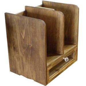 ブックスタンド 木製 ひのき アンティークブラウン 透明ガラス引き出しつき 本棚 受注製作|angelsdust