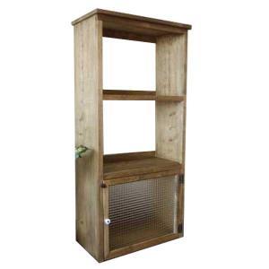 三段ラック 背板なし アンティークブラウン w55.5d29h116cm  チェッカーガラス扉 下段のみ扉つき 木製 ひのき 受注製作|angelsdust