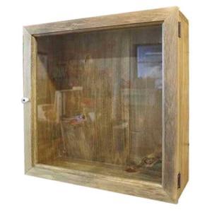 コレクションケース 木製 ひのき 壁掛けディスプレイケース 四角 透明ガラス扉 40×15×40cm ガラスケース アンティークブラウン 受注製作|angelsdust