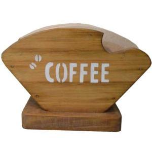 コーヒーフィルターケース COFFEE&コーヒー豆ステンシル アンティークブラウン w18d8h12cm コーヒーペーパーケース 木製 ひのき 受注製作|angelsdust