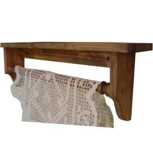 木製タオルハンガーシェルフ 幅40cm 飾り棚 (アンティークブラウン) 受注製作|angelsdust
