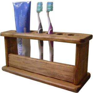 木製歯ブラシスタンド 4本収納ハブラシホルダー (アンティークブラウン) 受注製作|angelsdust