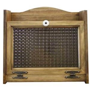 ブレッドケース パンケース アンティークブラウン w35d25h32cm チェッカーガラス扉 木製 ひのき 受注製作|angelsdust