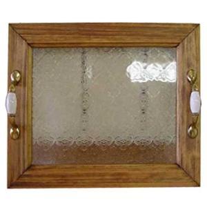ウッドトレイ フローラガラス w35×d30h5.5cm アンティークブラウン トレイ 木製 ひのき 受注製作|angelsdust