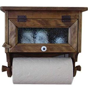 キッチンペーパーホルダー レギュラーサイズ(230mm)  w31d17h29cm アンティークブラウン フローラガラス扉 壁かけラック木製 ひのき 受注製作|angelsdust