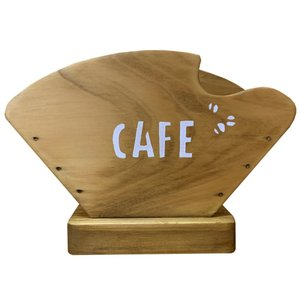 コーヒーフィルターケース ペーパーケース アンティークブラウン w18d8h12cm CAFE&コーヒー豆ステンシル 木製 ひのき 受注製作|angelsdust