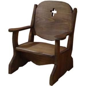 キッズチェア 子供用椅子 アンティークブラウン w35d29h42cm クロス 木製 ひのき 受注製作|angelsdust