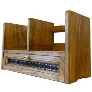 本棚 チェッカーガラス引出し 白つまみ アンティークブラウン 33x14x20cm 木製 ひのき ハンドメイド 受注製作|angelsdust