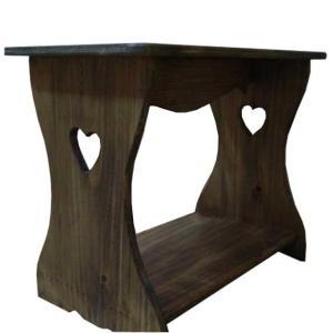 置き型シェルフ ハート アンティークブラウン w46d25h36cm ベンチタイプ 木製 ひのき 受注製作|angelsdust