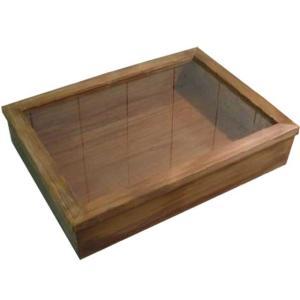 ディスプレイケース つまみなし アンティークブラウン w41d30h9cm 透明ガラス ひのき 木製 受注製作|angelsdust