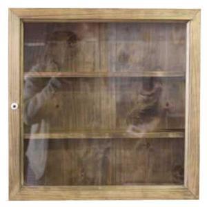 ディスプレイケース 棚付き 四角 アンティークブラウン w40d10h40cm 透明ガラス 木製 ひのき オーダーメイド|angelsdust