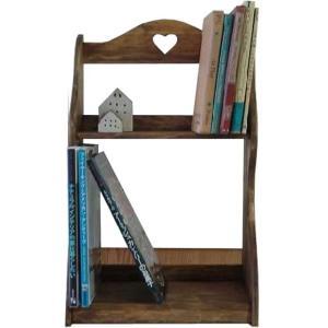 二段本棚 ハート アンティークブラウン w33d22h50cm ブックラック 木製 ヒノキ  受注製作|angelsdust
