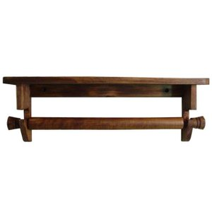 木製タオルハンガーシェルフ 取り外しバータイプ 幅40cm 飾り棚 (アンティークブラウン) 受注製作|angelsdust