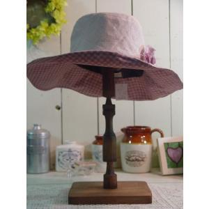アンティークブラウン 木製帽子スタンド:L つばの大きな帽子に 受注製作|angelsdust