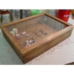 アンティークブラウン 透明ガラスコレクションケース(41×30×9cm) ジュエリーケース つまみなし 受注製作|angelsdust