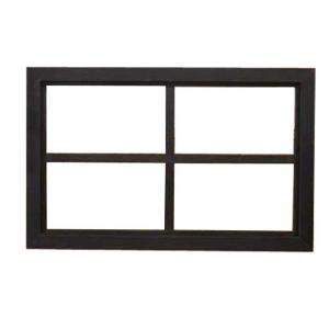 FIX窓・室内窓 木製ひのき アンティーク調家具 透明ガラスの室内窓 フィックス窓 両面桟入り 38×60cm・厚み3.5cm ブラックオイルステイン 受注製作|angelsdust