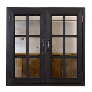 カフェ窓 室内窓 採光窓 透明ガラス扉 木製 ひのき 60×15×60cm・厚み3cm 両面仕様 桟入り シンプルアイアン取手付 北欧 ブラックステイン 受注製作 angelsdust