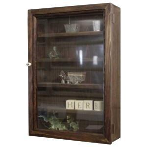 コレクションケース 木製ひのき 透明ガラス扉 壁掛け 棚付き ディスプレイケース ガラスケース 32×10×46cm ダークブラウン 受注製作|angelsdust