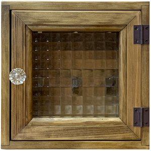 フランス製チェッカーガラスのパンプキンノブ正方形キーケース(角型タイプ・マグネット仕様)ニッチ用埋め込みタイプ (アンティークブラウン) 受注製作|angelsdust