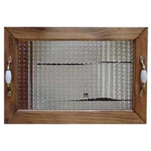 ガラストレイ 真鍮持ち手 アンティークブラウン w45d30h5.5cm チェッカーガラス トレイ 木製 ひのき 受注製作|angelsdust