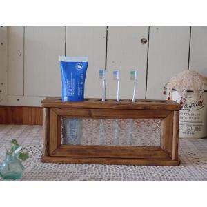 フローラガラスの歯ブラシスタンド 5本収納ハブラシホルダー (アンティークブラウン) 受注製作|angelsdust
