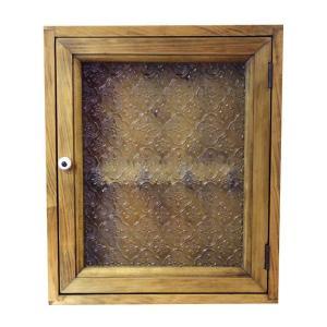 フローラガラスのキーケース(25×7×30cm) 大(角型タイプ)ニッチ用埋め込みタイプ (アンティークブラウン) 受注製作|angelsdust