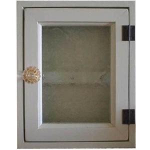 フローラガラスのパンプキンノブキーケース(角型タイプ・マグネット仕様)ニッチ用埋め込みタイプ (アンティークホワイト) 受注製作|angelsdust