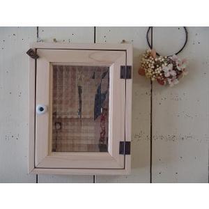 フランス製チェッカーガラスのキーボックス(角型タイプ) (無塗装白木) 受注製作|angelsdust