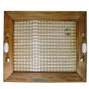 ガラストレイ 真鍮持ち手 アンティークブラウン w35d30h5.5cm チェッカーガラス ウッドトレイ 木製 ひのき 受注製作|angelsdust