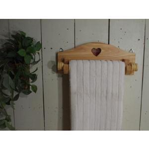 薄型 カントリーハート(赤)木製タオルハンガー 半折タイプ (ライトオーク) 受注製作|angelsdust