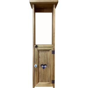 スリムキャビネット ハート 青 アンティークブラウン w20d15h63cm カントリーチェック 木製 ヒノキ 受注製作|angelsdust