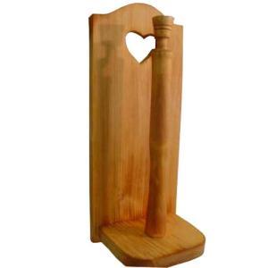 キッチンペーパースタンド w14d12.5h33.5cm ナチュラル レギュラーサイズ230mm 壁掛け ハート キッチンペーパーホルダー 木製 ひのき 受注製作|angelsdust