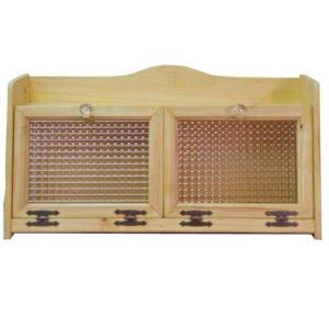 ブレッドケース チェッカーガラス扉 w60d25h32cm ライトオーク ダブルサイズ パンプキンノブ 側面ガラス 木製 ひのき 受注製作|angelsdust