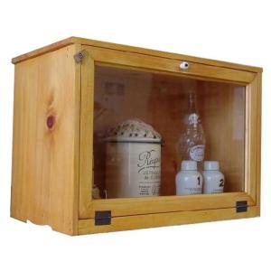 キャビネット 木製ひのき アンティーク調家具 横型 透明ガラス扉 見せる収納 おうちカフェ 46×25×32cm ナチュラル 受注製作 angelsdust