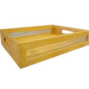 ガラストレイ  BOX型 ナチュラル w40d27h7.5cm チェッカーガラス お盆 木製 ひのき 受注製作|angelsdust