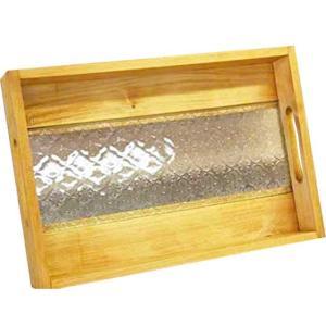 ガラストレイ フローラガラス ナチュラル w37d25h5.5cm 底面ガラス BOX型 トレイ 木製 ひのき 受注製作|angelsdust