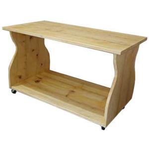 テーブル 棚・キャスターつき ナチュラル 80×42×46cm 幅広天板 ミニテーブル 木製 ひのき...